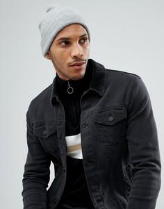 Серая меланжевая шапка-бини ASOS - Серый