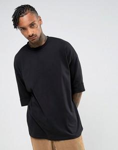 Оверсайз-футболка с широкими отворотами на рукавах ASOS - Черный