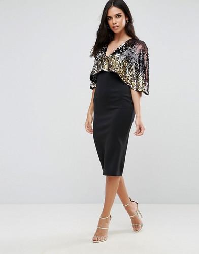 Платье миди с пайетками и кейпом Club L - Мульти