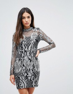 Платье с вышивкой и отделкой пайетками Club L - Золотой