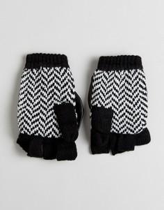 Варежки для сенсорного экрана с флисовой подкладкой и узором в елочку Plush - Черный