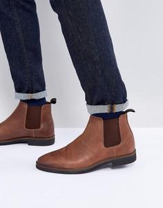 Коричневые кожаные ботинки челси с черной контрастной подошвой ASOS - Коричневый
