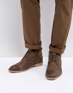 Коричневые кожаные ботинки Steve Madden Landon - Коричневый