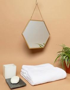 Подвесное шестиугольное зеркало с золотистой рамой Sass & Belle - Мульти