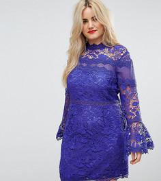 Кружевное платье мини с длинными рукавами клеш ASOS CURVE - Синий
