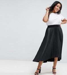 Черная плиссированная юбка из полиуретана с асимметричным краем Elvi - Черный