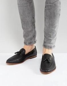 Черные кожаные плетеные лоферы ASOS - Черный