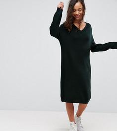 Трикотажное платье со свободным V-образным вырезом и окантовкой ASOS PETITE - Зеленый