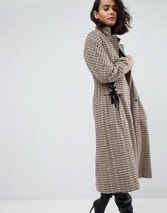 Пальто в клетку с корсетной отделкой на талии ASOS - Светло-бежевый