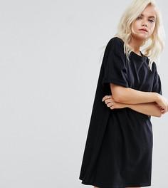 Платье-футболка с закатанными рукавами ASOS PETITE Ultimate - Черный