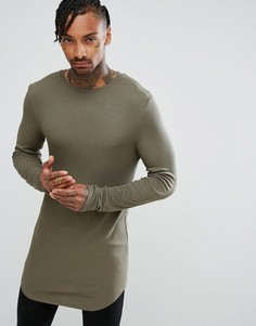 Супердлинная обтягивающая футболка в рубчик цвета хаки с закругленным краем ASOS - Зеленый