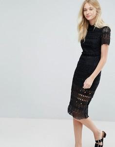 Кружевное платье миди с воротником Liquorish - Черный