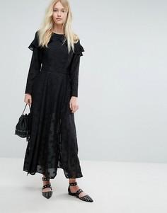 Платье макси с оборками и вышивкой Liquorish - Черный