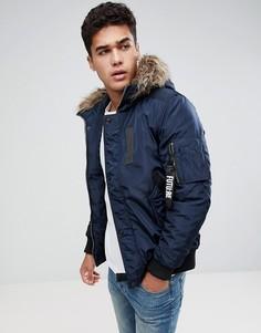 Куртка с искусственным мехом на капюшоне Jack & Jones - Темно-синий