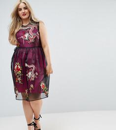 Сетчатое платье миди с контрастной подкладкой и вышивкой ASOS CURVE PREMIUM - Мульти