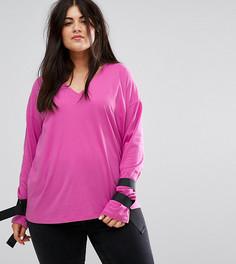 Футболка с завязками и D-образными пряжками ASOS CURVE - Розовый