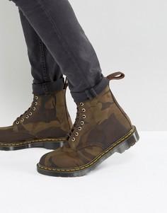 Камуфляжные ботинки с 8 парами люверсов Dr Martens Made In England Pascal - Зеленый