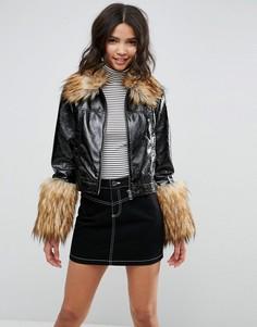 Куртка из искусственной кожи с отделкой из искусственной шерсти ASOS - Черный