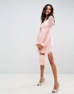 Платье мини с пышными рукавами ASOS - Розовый