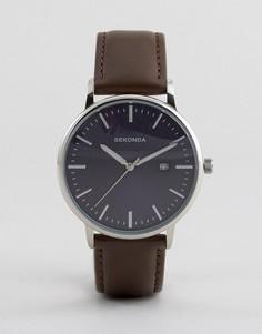Часы с коричневым кожаным ремешком Sekonda 1379 - Коричневый