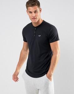 Черная узкая футболка хенли Hollister - Черный