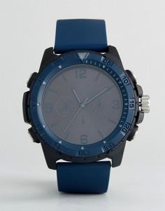Большие часы темно-синего и черного цвета ASOS - Темно-синий