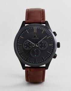 Часы с кожаным крокодиловым ремешком и контрастным черным корпусом ASOS - Коричневый