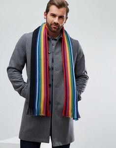 Черный двусторонний шарф из мериносовой шерсти PS by Paul Smith - Черный