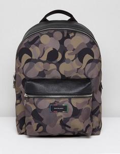 Парусиновый рюкзак хаки с камуфляжным принтом и кожаной отделкой PS by Paul Smith - Зеленый