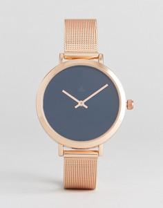 Часы с золотисто-розовым сетчатым ремешком ASOS CURVE - Медный