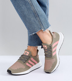 Кроссовки цвета хаки с розовыми полосками adidas Originals Swift Run - Зеленый