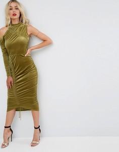 Присборенное бархатное платье миди с высоким воротом ASOS - Зеленый