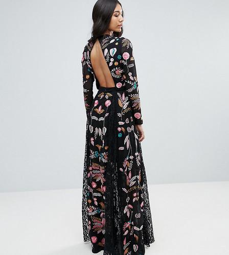 Платье макси с кружевными вставками и вышивкой Frock And Frill Tall - Черный