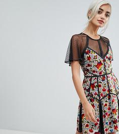 Бархатное платье мини с цветочным принтом и сеткой в горошек Frock And Frill Petite - Мульти