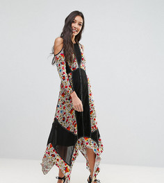 Платье с цветочным принтом, бархатными вставками, открытыми плечами и асимметричным подолом Frock And Frill Tall - Мульти