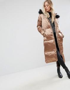 Атласное утепленное пальто Missguided - Медный