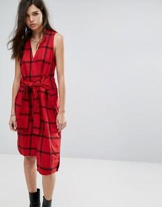 Платье в клетку с завязкой на талии Cheap Monday Rizzle - Красный