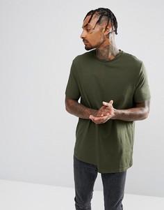 Свободная футболка с манжетами в рубчик ASOS - Зеленый