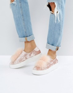 Бархатные кеды с помпонами Steve Madden Breeze - Розовый