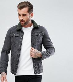 Черная выбеленная джинсовая куртка с разноцветным воротником борг Liquor N Poker - Черный