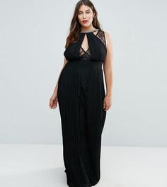 Платье макси с высоким воротом, отделкой и кружевными вставками TFNC Plus - Черный