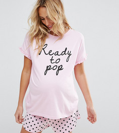 Пижамный комплект с шортами и принтом Ready To Pop ASOS Maternity - Розовый