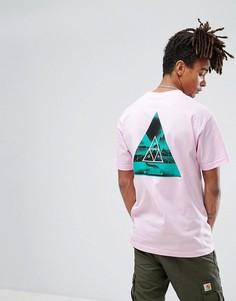 Футболка с треугольным принтом на спине HUF - Розовый