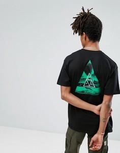 Футболка с треугольным принтом на спине HUF - Черный