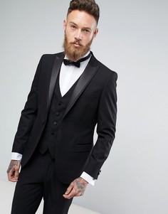 Приталенный пиджак-смокинг Moss London - Черный