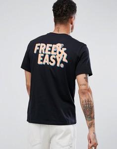 Черная футболка с неоновым принтом Free & Easy на спине Element Laze - Черный