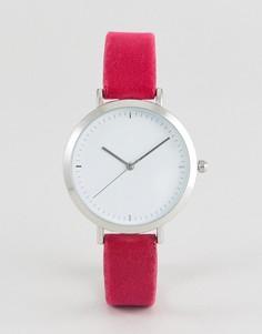 Розовые часы с бархатным ремешком ASOS - Розовый