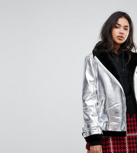 Куртка-авиатор с эффектом металлик Missguided - Серебряный