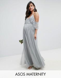 Платье макси с расклешенными рукавами и отделкой ASOS Maternity WEDDING - Серый