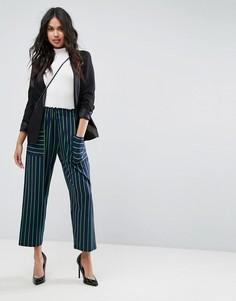 Свободные брюки в полоску с карманами ASOS - Темно-синий